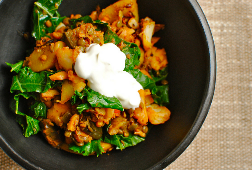 healthy family meals - tandoori lentil potato and eggplant hash
